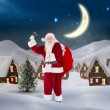 Composite image of santa claus ringing bell — Stock Photo #56894979