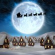 Silhouette of santa and reindeer — Stock Photo #56895579