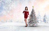 Pretty girl smiling in santa outfit — Stock fotografie