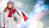 Happy blonde in winter clothes posing — Stock Photo