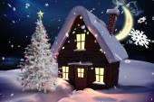 árbol de navidad y casa — Foto de Stock