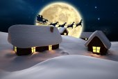 Silhouette of santa and reindeer — Stock Photo