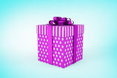 Composite image of purple and silver gift box — Stock Photo