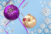 Composite image of hanging christmas bauble decorations — Stock Photo