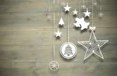 Composite image of hanging christmas decorations — Stock Photo