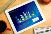 Composite image of business interface with graphs and data — Stockfoto