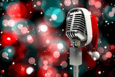 Microphone with Santa hat — ストック写真