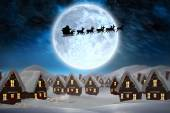 Silhouette of santa and reindeer — Stockfoto