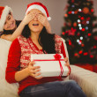 Mother surprising her daughter with christmas gift — Stock Photo #56904021