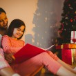 Mother and daughter waiting for santa claus — Stockfoto #56904411