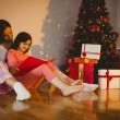 Mother and daughter waiting for santa claus — Stock fotografie #56909619