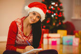 Festive brunette writing her list — Foto de Stock