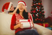 Mother surprising her daughter with christmas gift — Stock Photo