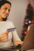 Pretty brunette shopping online at christmas — Stock Photo