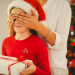 Mother surprising her daughter with christmas gift — Stock Photo #56912033