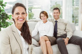 Couple in meeting with a female financial adviser — Stock Photo