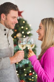 Happy couple enjoying some wine — Stock Photo