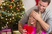 Novio cariñoso sorprender a su novia — Foto de Stock