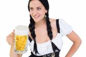 Pretty oktoberfest girl holding beer tankard — Stock Photo