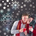Composite image of couple both having warm drinks — Stock Photo #57149345