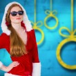 Composite image of cool santa girl wearing sunglasses — Stock Photo #57149939