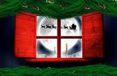 Santa delivers presents to village — Stock Photo