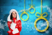 Woman wearing christmas styled clothes — Stock Photo