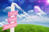 Immagine composita del messaggio di consapevolezza del cancro al seno — Foto Stock