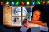 Sexy santa dziewczyna otwarcie prezent — Zdjęcie stockowe