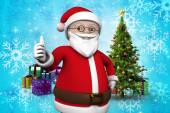 Cartoon santa claus against christmas tree — Foto de Stock