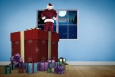 Composite image of santa standing on giant present — Stockfoto