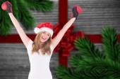 Composite image of festive blonde with boxing gloves — Stok fotoğraf