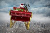 Composite image of santa flying his sleigh — Стоковое фото