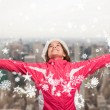 Cute girl in winter clothes with arms out — Stock Photo #57152185