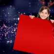Festive girl showing card with red ribbon — Stock Photo #57152501