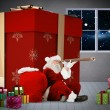 Composite image of santa looking through a telescope — Stock Photo #57155575