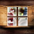 Santa delivers presents against window — Stock Photo #57156453