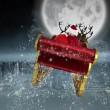 Composite image of santa flying his sleigh — Stock Photo #57157603