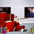 Composite image of santa looking through a telescope — Stock Photo #57158737