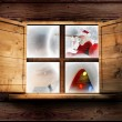 Santa delivers presents against window — Stock Photo #57159471
