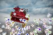 Composite image of white christmas presents with ribbon — Stock Photo