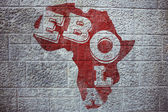 Composite image of red ebola text on africa outline — Stock Photo