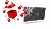 Composite image of flying christmas presents — Stock Photo