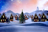 Composite image of cute christmas village — Stock Photo