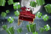 Composite image of green presents — Stock Photo