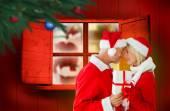 Imagem composta de casal festivo — Fotografia Stock