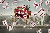 Composite image of white and red christmas presents — Stock Photo