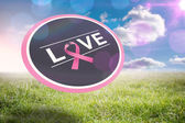 Composite image of breast cancer awareness message on poster — Stock Photo
