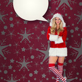 Girl in santa outfit with arms crossed — Stock Photo