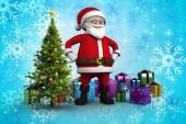 Cartoon santa claus against christmas tree — Стоковое фото